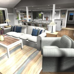 Open Concept Living Area 3D Design
